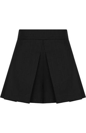 Шерстяные мини-шорты со складками REDVALENTINO черные | Фото №1