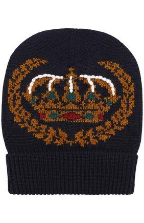 Мужская шапка из смеси кашемира и шерсти DOLCE & GABBANA темно-синего цвета, арт. GX325T/JAMHH   Фото 1