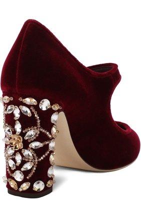 Туфли Vally из бархата на декорированном каблуке   Фото №4