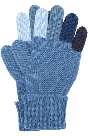 Детские кашемировые перчатки фактурной вязки LORO PIANA синего цвета, арт. FAI2313 | Фото 1