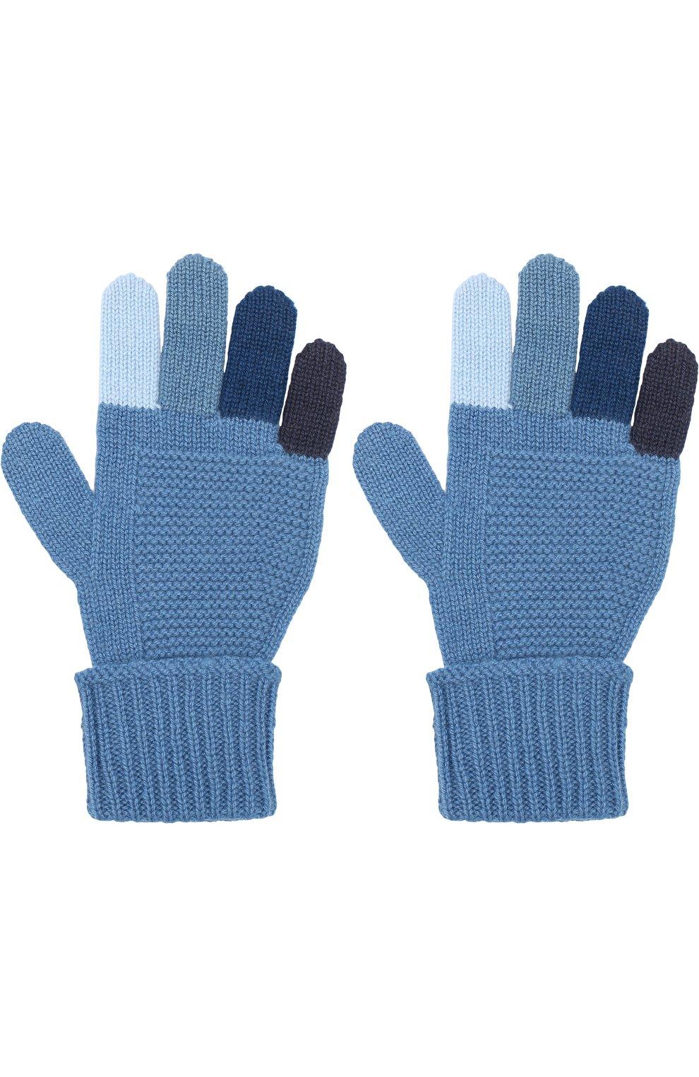 Детские кашемировые перчатки фактурной вязки LORO PIANA синего цвета, арт. FAI2313 | Фото 2