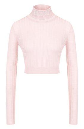 Укороченная шерстяная водолазка с логотипом бренда Emilio Pucci светло-розовая | Фото №1