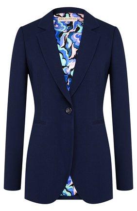 Приталенный шерстяной жакет Emilio Pucci темно-синий | Фото №1