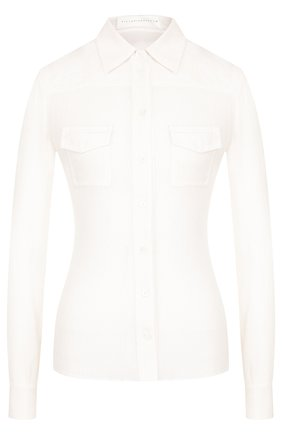 Женская приталенная шелковая блуза с накладными карманами Victoria Beckham, цвет кремовый, арт. SH FIT 1503B PAW18 SILK CREP0N в ЦУМ | Фото №1