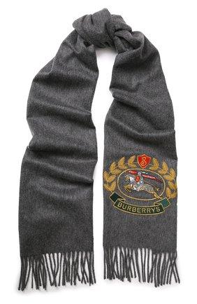 Кашемировый шарф с нашивкой и бахромой | Фото №1