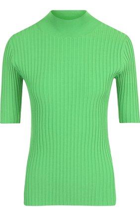 Топ из вискозы с укороченным рукавом Diane Von Furstenberg зеленый   Фото №1
