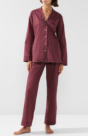 Хлопковая пижама с принтом YOLKE фиолетовая   Фото №1