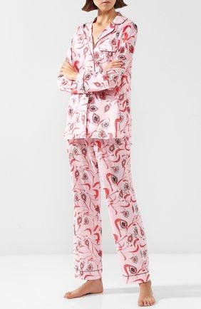Хлопковая пижама с принтом YOLKE малиновая   Фото №1
