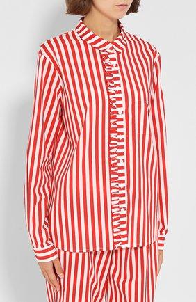 Хлопковая пижама в полоску YOLKE красная   Фото №1
