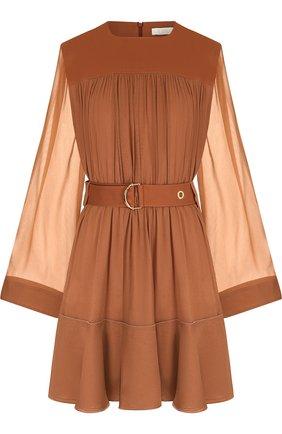 Мини-платье c полупрозрачными рукавами и поясом   Фото №1