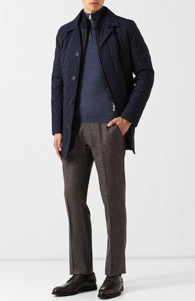 Кожаные дерби на шнуровке с внутренней меховой отделкой Barrett темно-коричневые | Фото №1