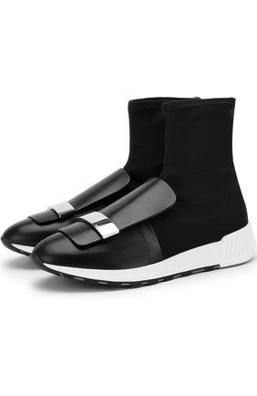 Высокие текстильные кроссовки с кожаным мысом Sergio Rossi черные   Фото №1