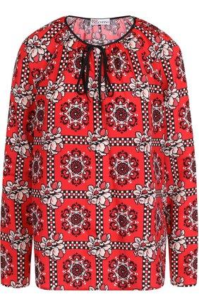 Женская блуза с круглым вырезом и принтом REDVALENTINO, цвет красный, арт. QR0AB265/41W в ЦУМ | Фото №1