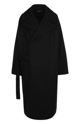 Однотонное шерстяное пальто свободного кроя | Фото №1