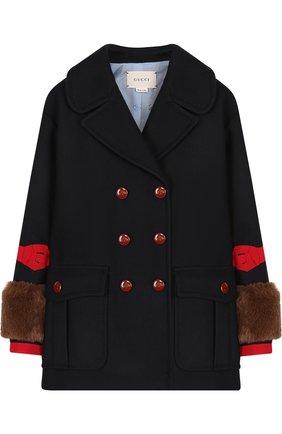 Двубортное шерстяное пальто | Фото №1