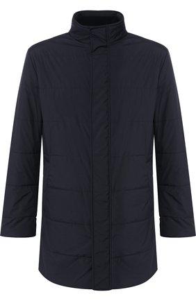 Мужская утепленная куртка на молнии с воротником-стойкой KITON темно-синего цвета, арт. UW0479V03R98   Фото 1