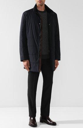 Мужская утепленная куртка на молнии с воротником-стойкой KITON темно-синего цвета, арт. UW0479V03R98   Фото 2