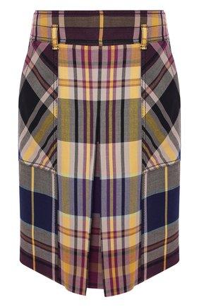 Шерстяная юбка в клетку с карманами | Фото №1