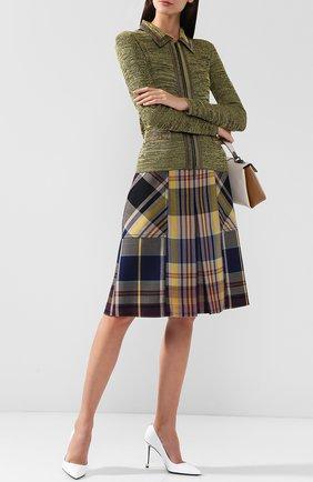Шерстяная юбка в клетку с карманами Bottega Veneta сиреневая | Фото №1