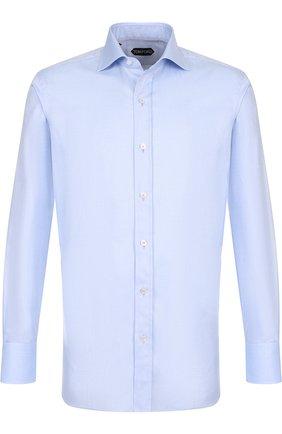 Мужская хлопковая сорочка с воротником кент TOM FORD голубого цвета, арт. 4FT192/94C1AX | Фото 1
