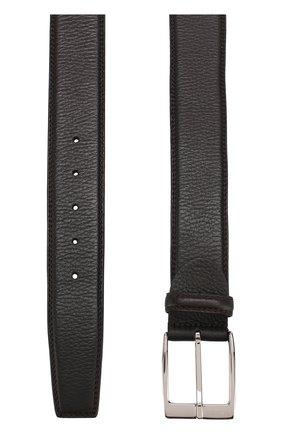 Кожаный ремень с металлической пряжкой Barrett темно-коричневый | Фото №1