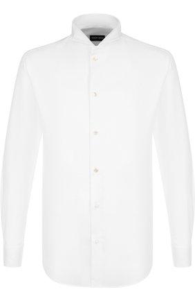 Мужская хлопковая сорочка под смокинг GIORGIO ARMANI белого цвета, арт. 8WGCCZS1/TZ200 | Фото 1 (Материал внешний: Хлопок; Статус проверки: Проверена категория, Проверено; Рукава: Длинные; Длина (для топов): Стандартные; Мужское Кросс-КТ: Сорочка-одежда; Принт: Однотонные; Случай: Вечерний; Манжеты: На пуговицах; Воротник: Бабочка)