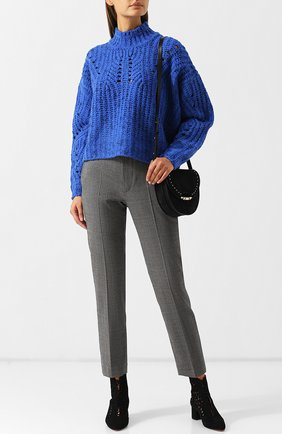 Вязаный шерстяной пуловер с воротником-стойкой Isabel Marant кремовый   Фото №1
