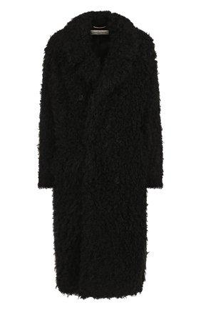 Двубортное меховое пальто Saint Laurent черная | Фото №1