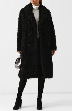 Двубортное меховое пальто Saint Laurent черная | Фото №2