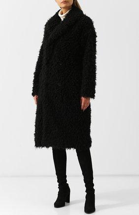 Двубортное меховое пальто Saint Laurent черная | Фото №3