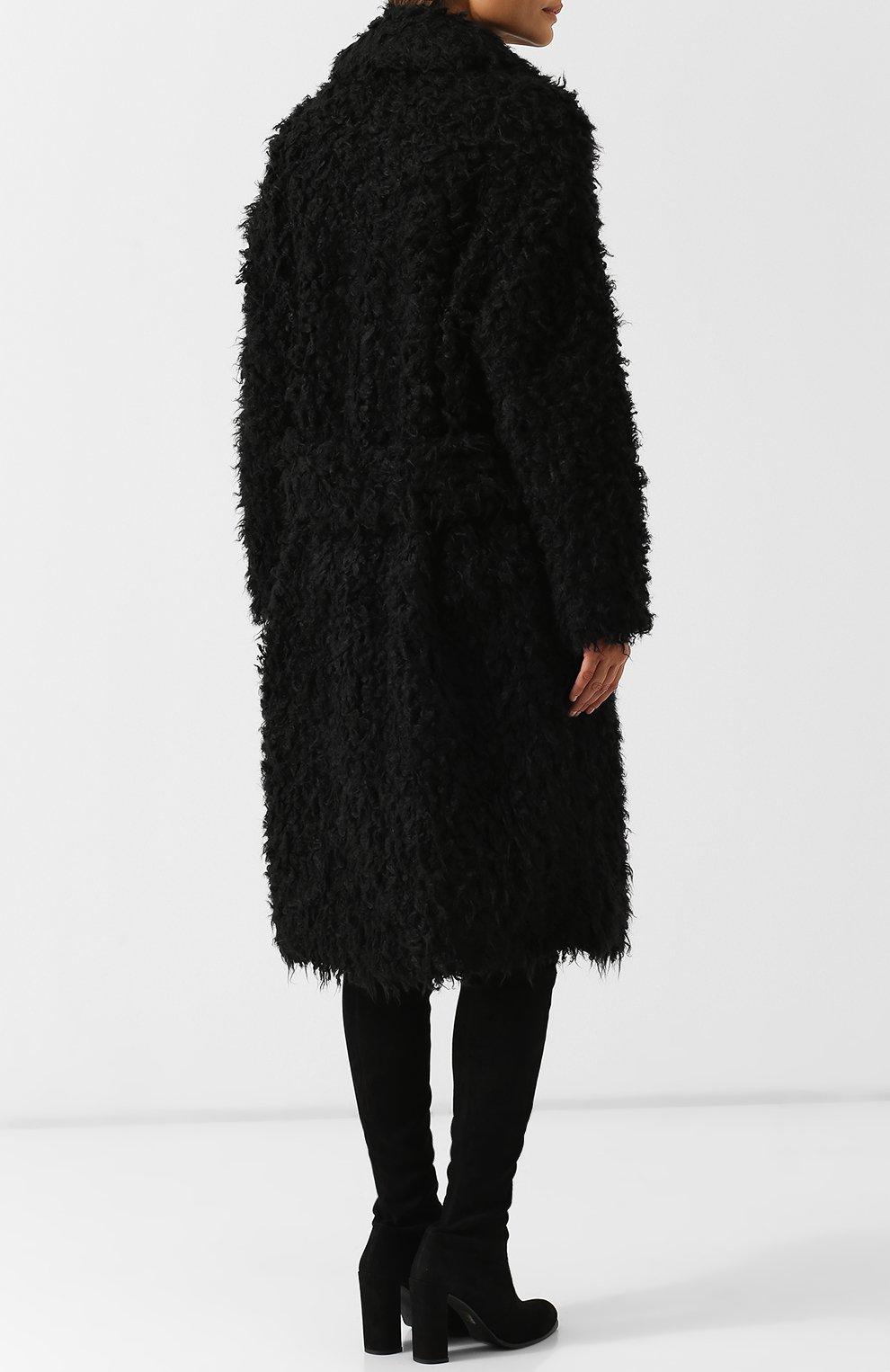 Двубортное меховое пальто Saint Laurent черная | Фото №4