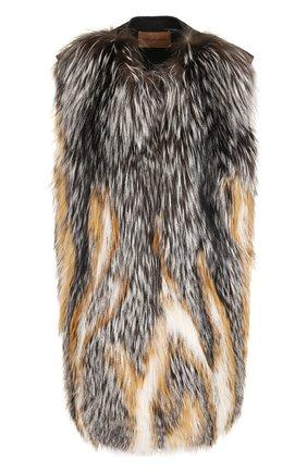 Шерстяной жилет с отделкой из меха лисы | Фото №1