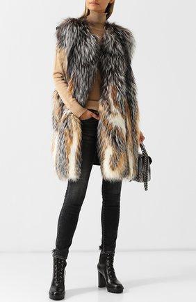 Шерстяной жилет с отделкой из меха лисы Yves Salomon серый | Фото №1