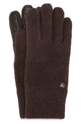 Шерстяные перчатки с кожаной отделкой | Фото №1