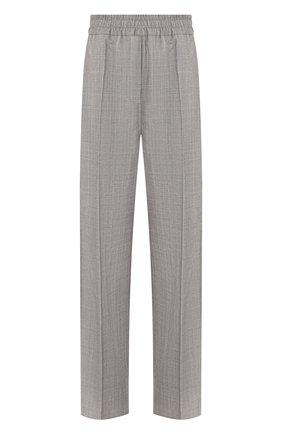 Шерстяные брюки с эластичным поясом и контрастными лампасами | Фото №1