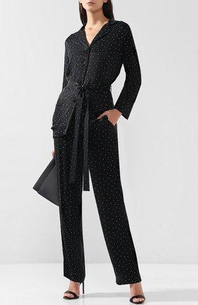 Женская блуза из вискозы с поясом и принтом Poustovit, цвет черный, арт. w19P-3202 в ЦУМ | Фото №1