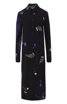 Шелковое платье-рубашка с принтом Poustovit черное | Фото №1