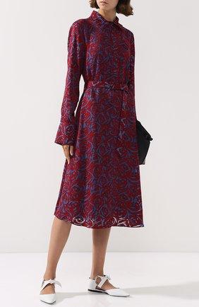 Приталенное платье из вискозы с поясом и принтом Poustovit разноцветное | Фото №1