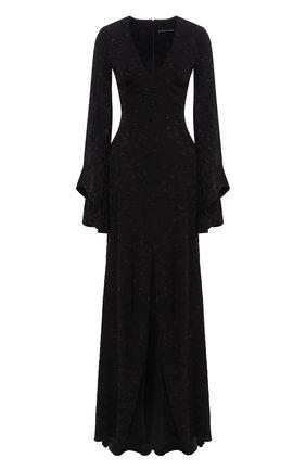 Приталенное платье-макси с V-образным вырезом с расклешенными рукавами | Фото №1