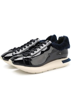 Лаковые кроссовки на контрастной подошве | Фото №1