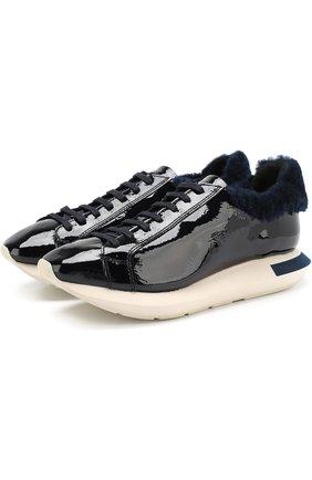 Лаковые кроссовки на контрастной подошве Manuel Barcelo темно-синие   Фото №1