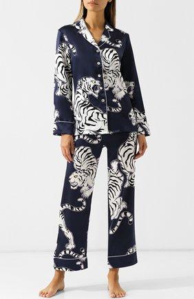 Шелковая пижама с принтом Olivia Von Halle синяя | Фото №1
