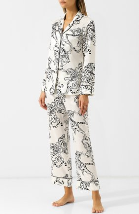 Шелковая пижама с принтом Olivia Von Halle белая | Фото №1