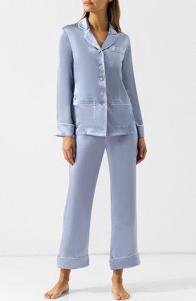 Шелковая пижама с контрастной отделкой | Фото №1