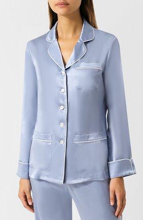 Шелковая пижама с контрастной отделкой Olivia Von Halle голубая | Фото №1