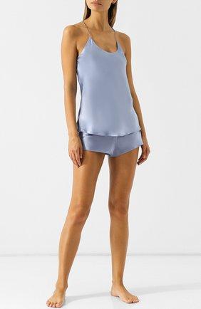 Однотонная шелковая пижама Olivia Von Halle голубая | Фото №1