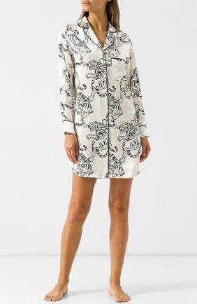 Шелковая сорочка с принтом Olivia Von Halle белая | Фото №1