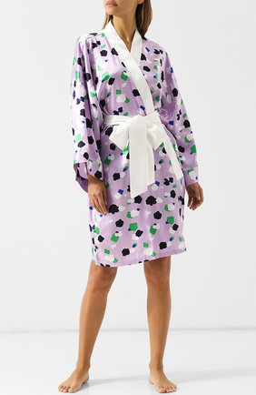 Шелковый халат с принтом и контрастным поясом Olivia Von Halle сиреневый | Фото №1