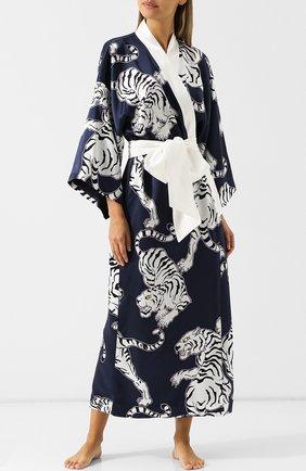 Шелковый халат с принтом и контрастным поясом | Фото №2