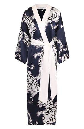 Шелковый халат с принтом и контрастным поясом Olivia Von Halle синий | Фото №1